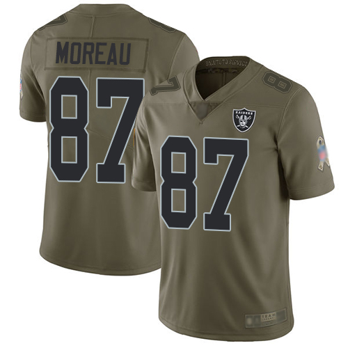 Men Oakland Raiders Limited Olive Foster Moreau Jersey NFL Football 87 2017 Salute to Service Jersey