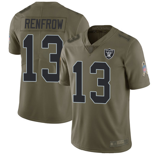 Wholesale Men Oakland Raiders Limited Olive Hunter Renfrow Jersey NFL Football 13 2017 Salute to Service Jersey