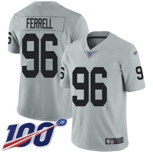 Men Oakland Raiders Limited Silver Clelin Ferrell Jersey NFL Football 96 100th Season Inverted Legend Jersey