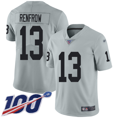 Wholesale Men Oakland Raiders Limited Silver Hunter Renfrow Jersey NFL Football 13 100th Season Inverted Jersey