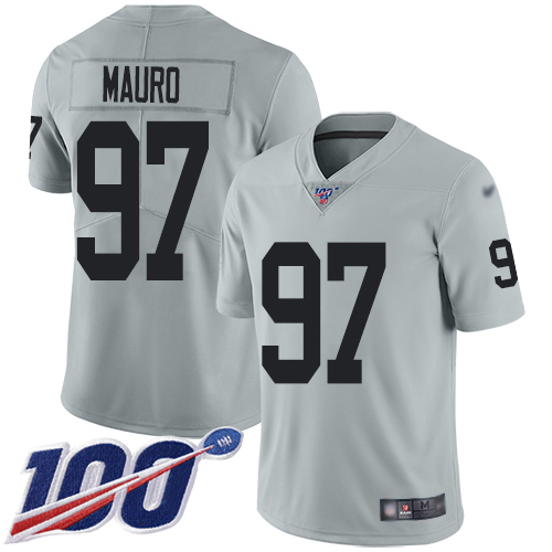 Men Oakland Raiders Limited Silver Josh Mauro Jersey NFL Football 97 100th Season Inverted Legend Jersey