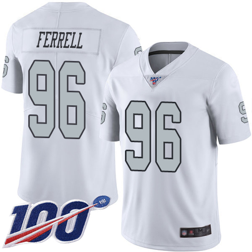 Men Oakland Raiders Limited White Clelin Ferrell Jersey NFL Football 96 100th Season Rush Vapor Jersey