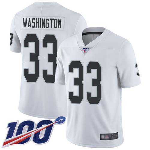 Wholesale Men Oakland Raiders Limited White DeAndre Washington Road Jersey NFL Football 33 100th Jersey