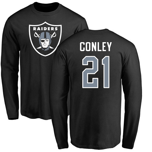 Men Oakland Raiders Olive Gareon Conley Name and Number Logo NFL Football 21 Long Sleeve T Shirt