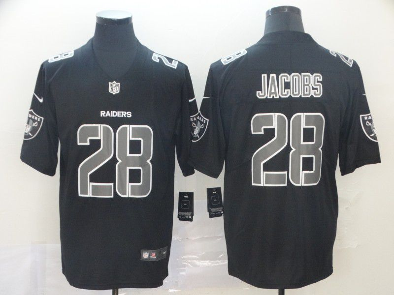 Men Okaland Raiders 28 Jacobs Nike Fashion Impact Black Color Rush Limited NFL Jerseys