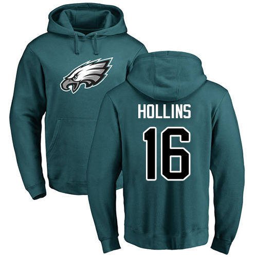 Wholesale Men Philadelphia Eagles 16 Mack Hollins Green Name and Number Logo NFL Pullover Hoodie Sweatshirts