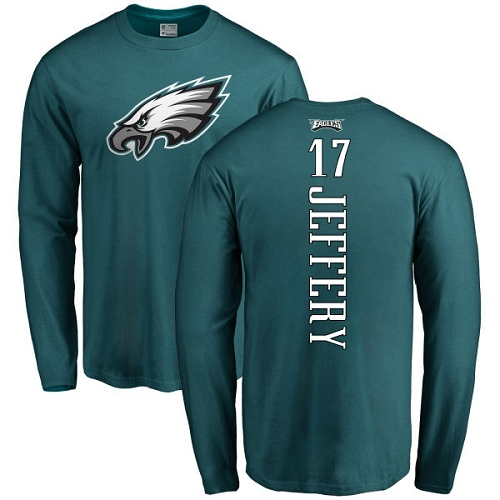 Wholesale Men Philadelphia Eagles 17 Alshon Jeffery Green Backer Long Sleeve NFL T Shirt