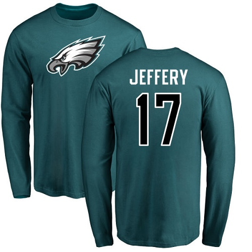 Wholesale Men Philadelphia Eagles 17 Alshon Jeffery Green Name and Number Logo Long Sleeve NFL T Shirt