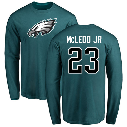 Wholesale Men Philadelphia Eagles 23 Rodney McLeod Green Name and Number Logo Long Sleeve NFL T Shirt