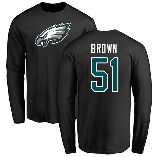 Men Philadelphia Eagles 51 Zach Brown Black Name and Number Logo Long Sleeve NFL T Shirt