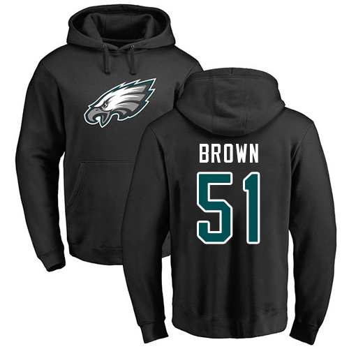 Men Philadelphia Eagles 51 Zach Brown Black Name and Number Logo NFL Pullover Hoodie Sweatshirts