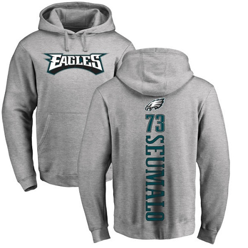 Men Philadelphia Eagles 73 Isaac Seumalo Ash Backer NFL Pullover Hoodie Sweatshirts