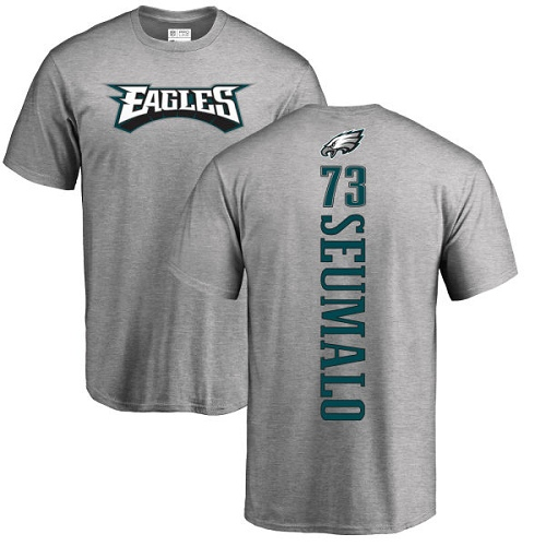 Men Philadelphia Eagles 73 Isaac Seumalo Ash Backer NFL T Shirt
