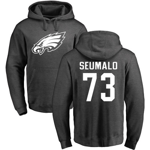 Men Philadelphia Eagles 73 Isaac Seumalo Ash One Color NFL Pullover Hoodie Sweatshirts