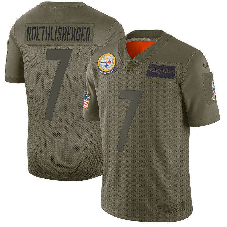 Men Pittsburgh Steelers 7 Roethlisberger Green Nike Olive Salute To Service Limited NFL Jerseys