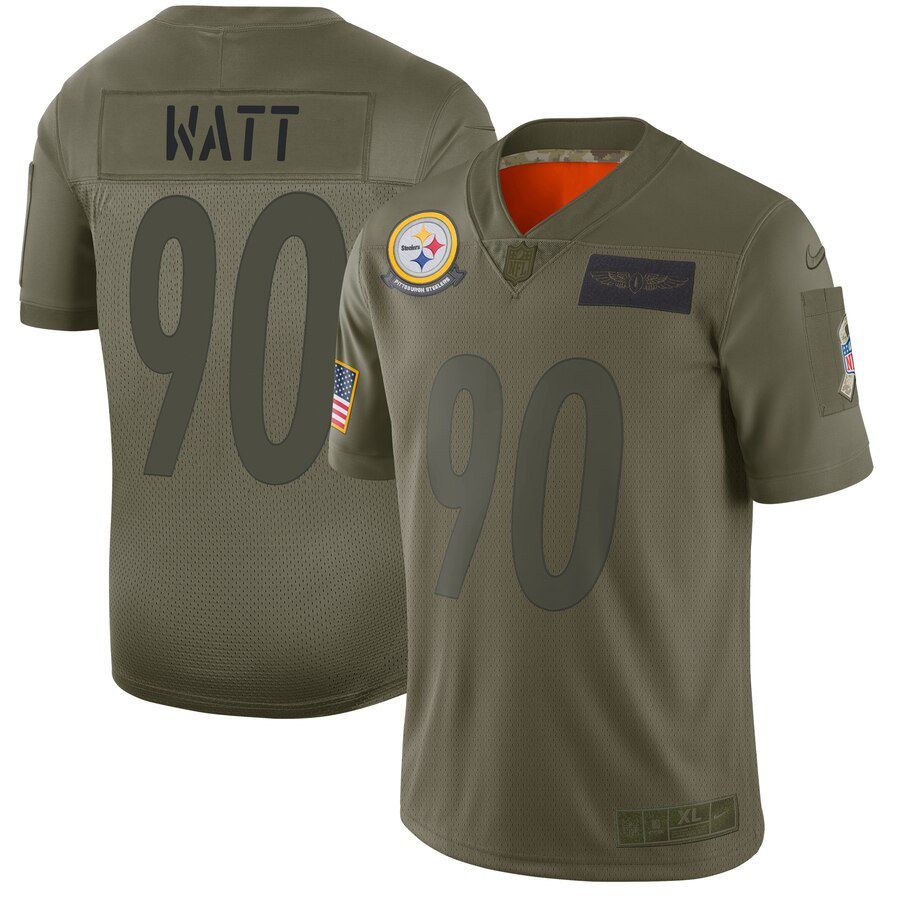 Men Pittsburgh Steelers 90 Watt Green Nike Olive Salute To Service Limited NFL Jerseys