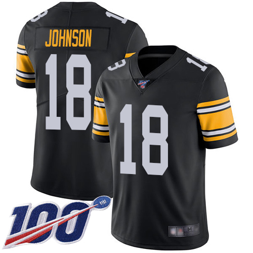 Men Pittsburgh Steelers Football 18 Limited Black Diontae Johnson Alternate 100th Season Vapor Untouchable Nike NFL Jersey