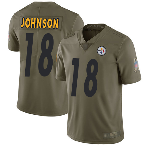 Men Pittsburgh Steelers Football 18 Limited Olive Diontae Johnson 2017 Salute to Service Nike NFL Jersey
