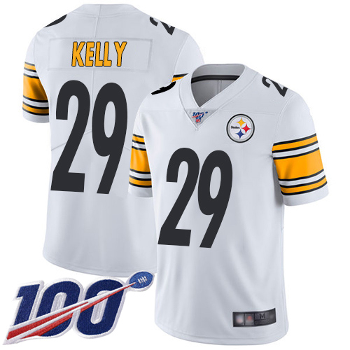 Men Pittsburgh Steelers Football 29 Limited White Kam Kelly Road 100th Season Vapor Untouchable Nike NFL Jersey