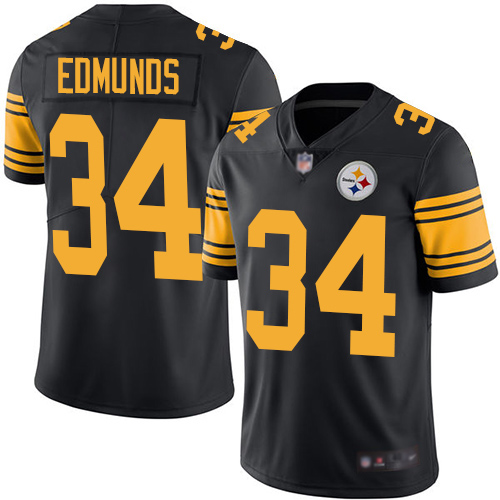 Men Pittsburgh Steelers Football 34 Limited Black Terrell Edmunds Rush Vapor Untouchable Nike NFL Jersey