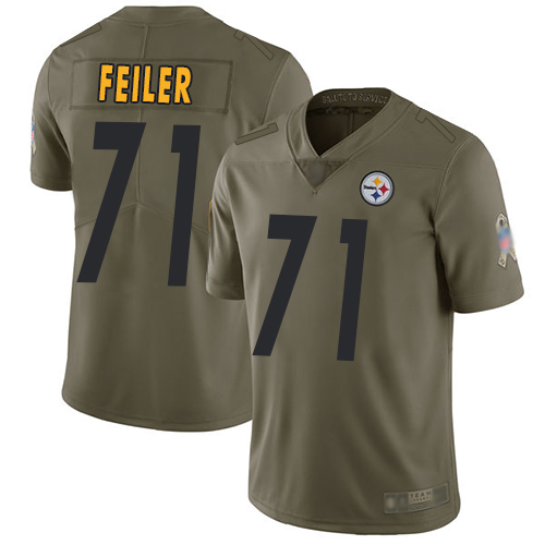 Men Pittsburgh Steelers Football 71 Limited Olive Matt Feiler 2017 Salute to Service Nike NFL Jersey