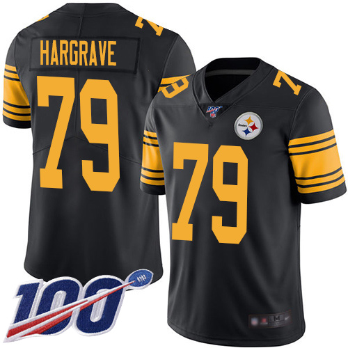 Wholesale Men Pittsburgh Steelers Football 79 Limited Black Javon Hargrave 100th Season Rush Vapor Untouchable Nike NFL Jersey