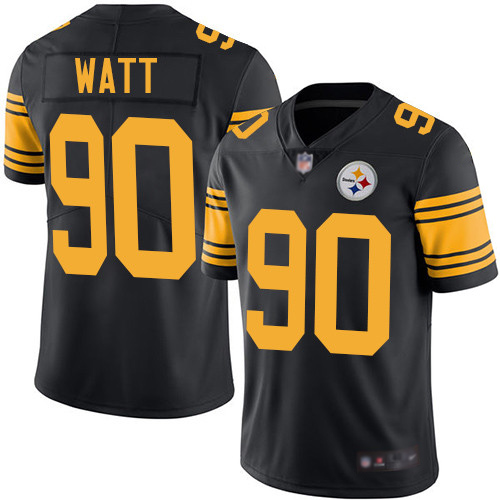 Men Pittsburgh Steelers Football 90 Limited Black T J Watt Rush Vapor Untouchable Nike NFL Jersey