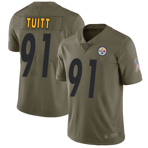Men Pittsburgh Steelers Football 91 Limited Olive Stephon Tuitt 2017 Salute to Service Nike NFL Jersey