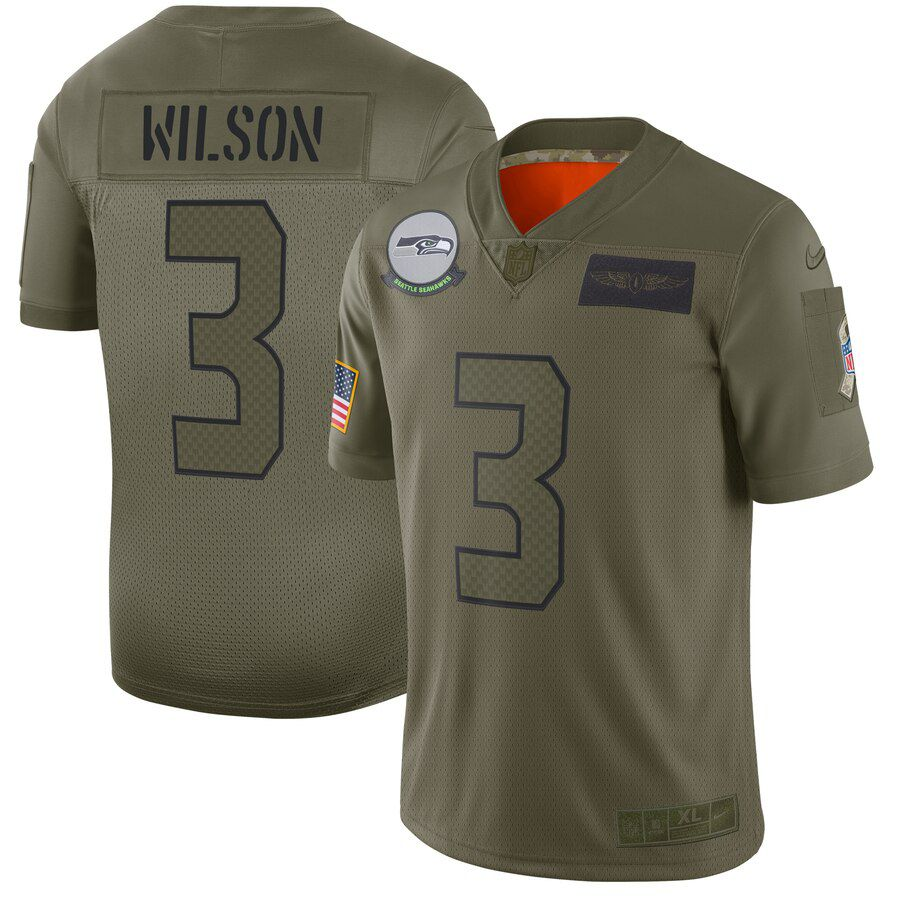 Men Seattle Seahawks 3 Wilson Green Nike Olive Salute To Service Limited NFL Jerseys
