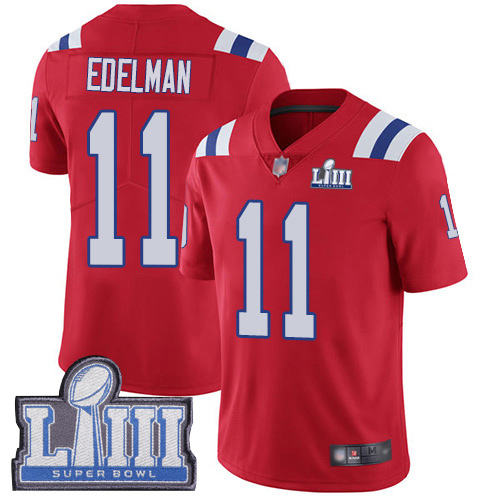 New England Patriots Football 11 Super Bowl LIII Limited Red Men Julian Edelman Alternate NFL Jersey