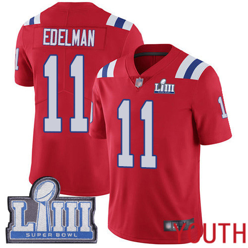 New England Patriots Football 11 Super Bowl LIII Limited Red Youth Julian Edelman Alternate NFL Jersey