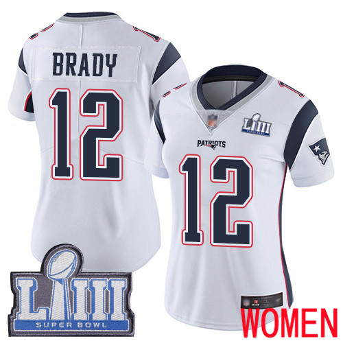 New England Patriots Football 12 Super Bowl LIII Bound Limited White Women Tom Brady Road NFL Jersey