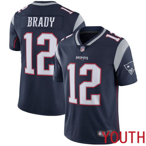 New England Patriots Football 12 Vapor Untouchable Limited Navy Blue Youth Tom Brady Home NFL Jersey