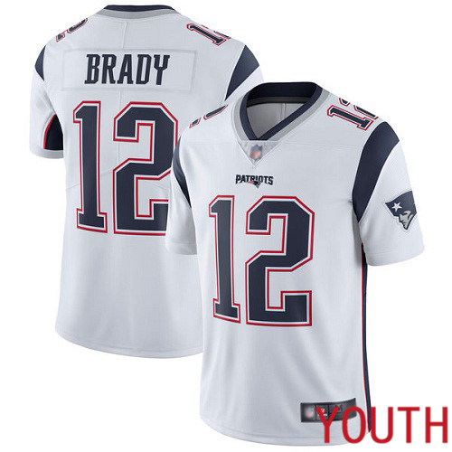 New England Patriots Football 12 Vapor Untouchable Limited White Youth Tom Brady Road NFL Jersey