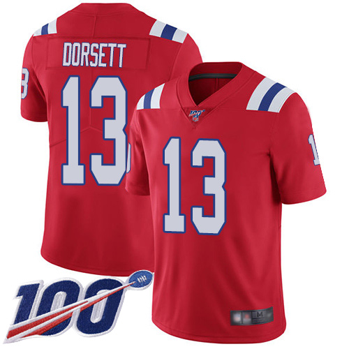 New England Patriots Football 13 100th Season Limited Red Men Phillip Dorsett Alternate NFL Jersey