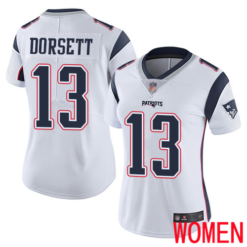 New England Patriots Football 13 Vapor Limited White Women Phillip Dorsett Road NFL Jersey