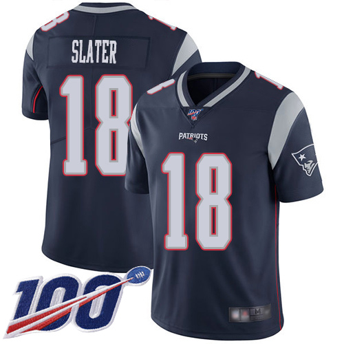 New England Patriots Football 18 100th Season Limited Navy Blue Men Matthew Slater Home NFL Jersey