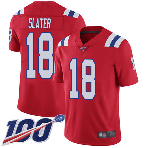New England Patriots Football 18 100th Season Limited Red Men Matthew Slater Alternate NFL Jersey
