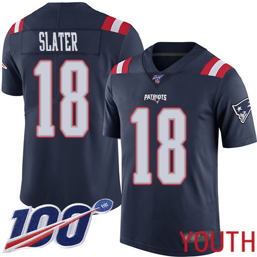New England Patriots Football 18 100th Season Rush Limited Navy Blue Youth Matthew Slater NFL Jersey