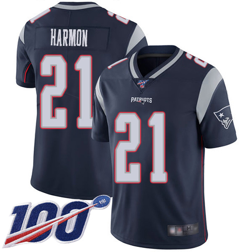 New England Patriots Football 21 100th Season Limited Navy Blue Men Duron Harmon Home NFL Jersey