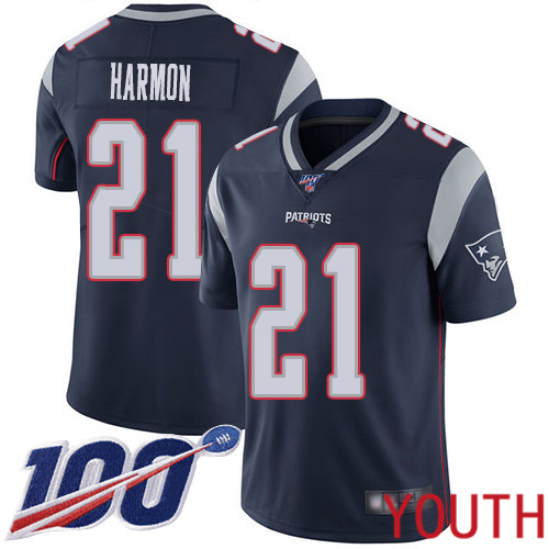 New England Patriots Football 21 100th Season Limited Navy Blue Youth Duron Harmon Home NFL Jersey
