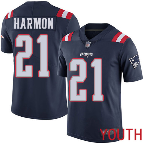 New England Patriots Football 21 Rush Vapor Limited Navy Blue Youth Duron Harmon NFL Jersey