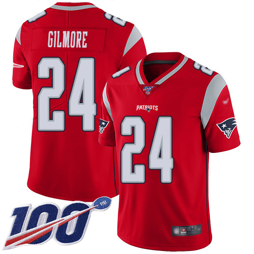 New England Patriots Football 24 100th Season Inverted Limited Red Men Stephon Gilmore NFL Jersey