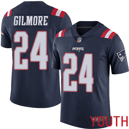 New England Patriots Football 24 Rush Vapor Limited Navy Blue Youth Stephon Gilmore NFL Jersey