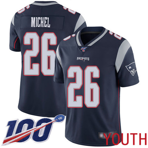 New England Patriots Football 26 Vapor Untouchable 100th Season Limited Navy Blue Youth Sony Michel Home NFL Jersey