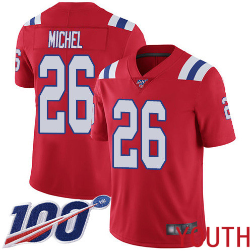 New England Patriots Football 26 Vapor Untouchable 100th Season Limited Red Youth Sony Michel Alternate NFL Jersey