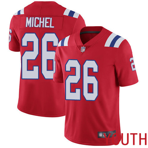 New England Patriots Football 26 Vapor Untouchable Limited Red Youth Sony Michel Alternate NFL Jersey