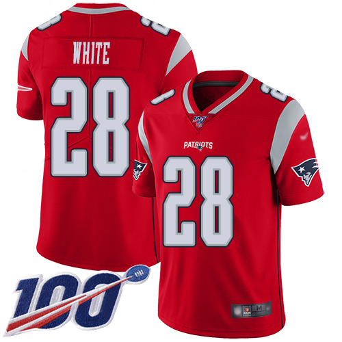 New England Patriots Football 28 100th Season Inverted Legend Limited Red Men James White NFL Jersey