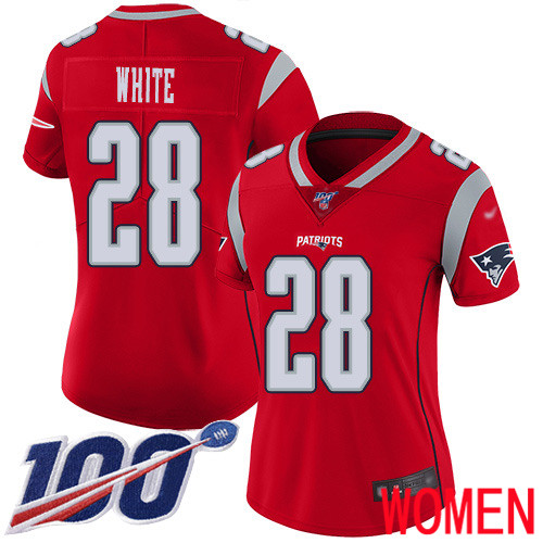 New England Patriots Football 28 100th Season Inverted Limited Red Women James White NFL Jersey