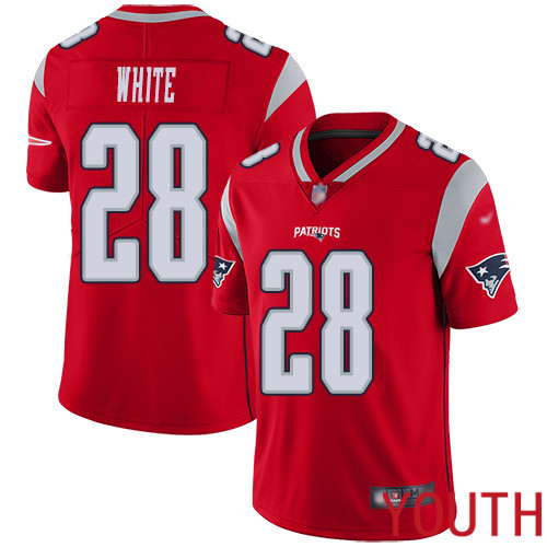 New England Patriots Football 28 Inverted Legend Limited Red Youth James White NFL Jersey